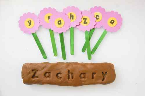 Plant a flower play dough letter matching activity