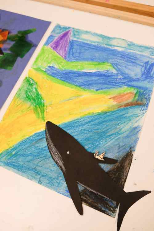 Artwork by preschooler inspired by the book The Snail and the Whale