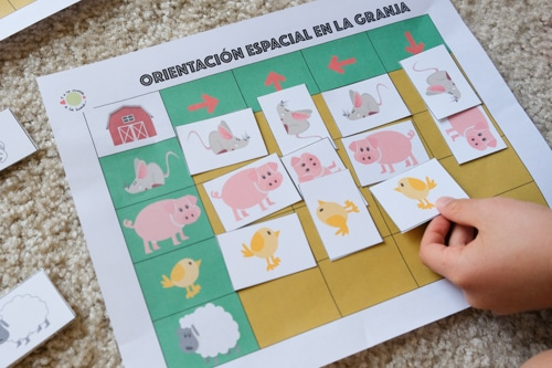 Farm animals direction game
