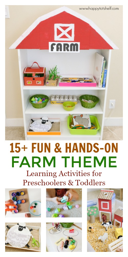 Farm theme preschool activities and shelf