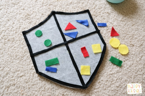 Castle theme shape sorting learning activity