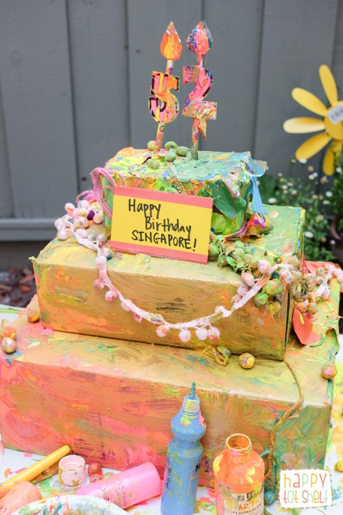 Cardboard birthday cake