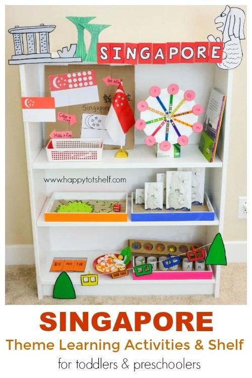 Singapore theme learning shelf