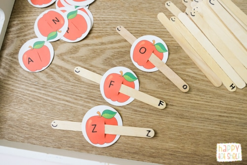 Apple letter matching activity for toddlers