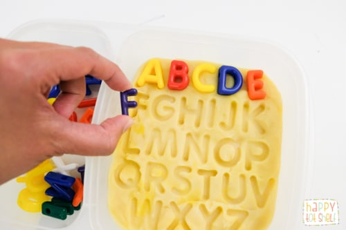 Letter Matching with Play Dough in a Box