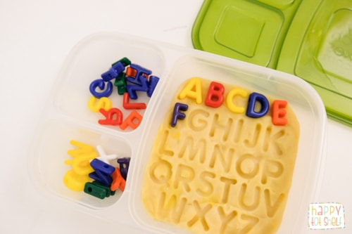 Play dough letter matching activity for kids