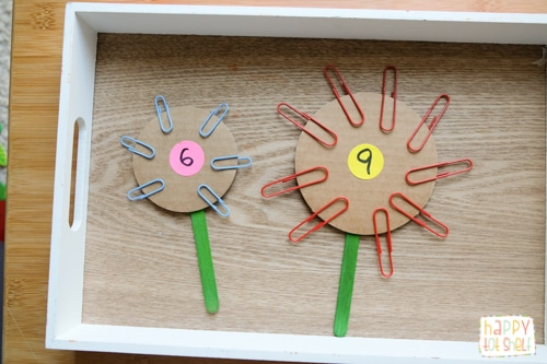 paper clip flower counting