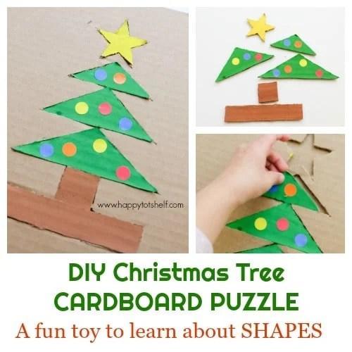 DIY Christmas Tree Cardboard Puzzle