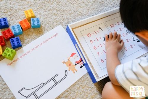 Santa Sleigh Counting Activity