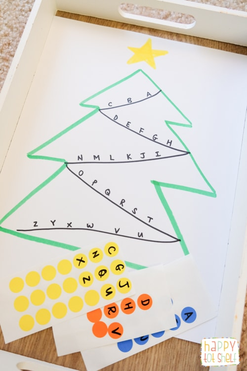 Dot sticker Christmas Tree letter matching