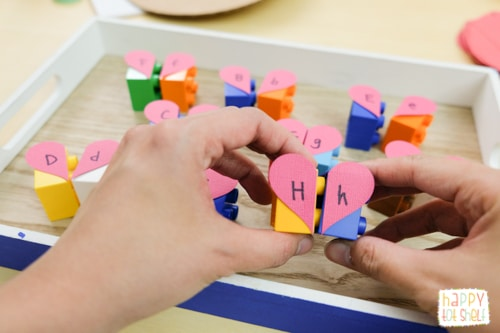 DIY Hearts Letter Matching Puzzle