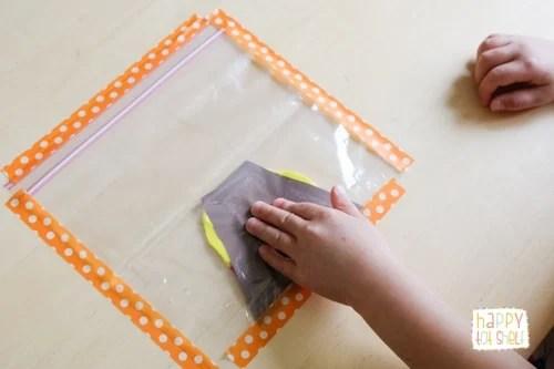 Volcano Eruption Painting in a Ziploc bag