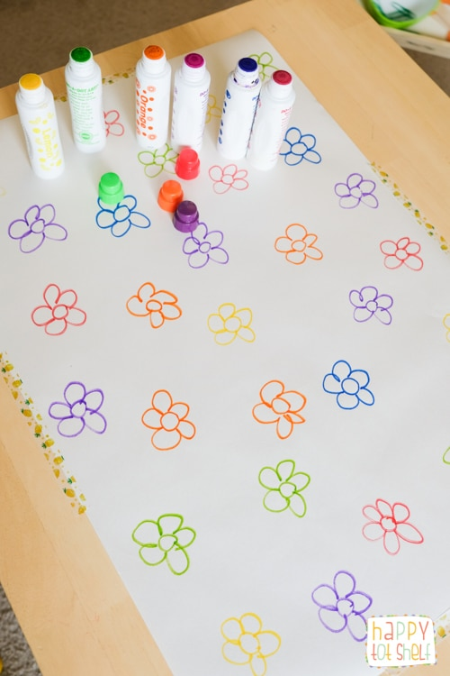 Dot the flower color matching activity for toddlers