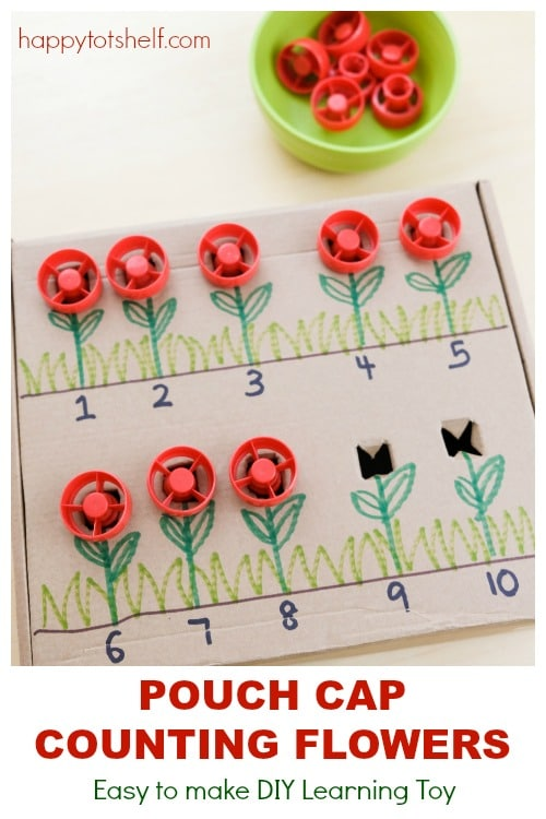 Pouch Cap Flowers Counting DIY Toy  to learn 1 to 1 correspondence counting