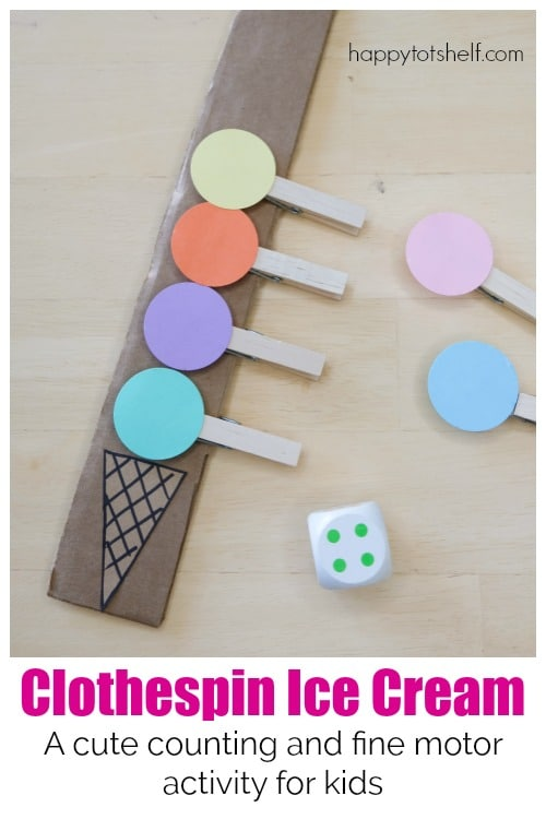 Cute Clothespin Ice Cream counting activity for kids