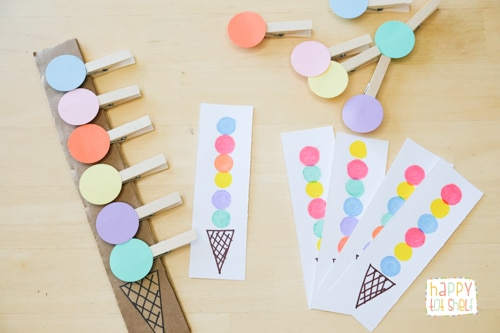 Ice cream pattern matching activity