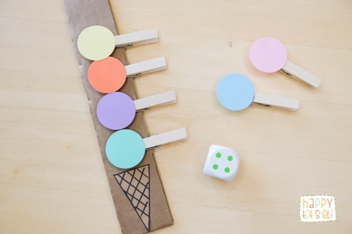Counting with clothespin ice cream