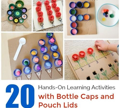 20 Hands-On Learning Activities with Bottle Caps and Pouch Lids