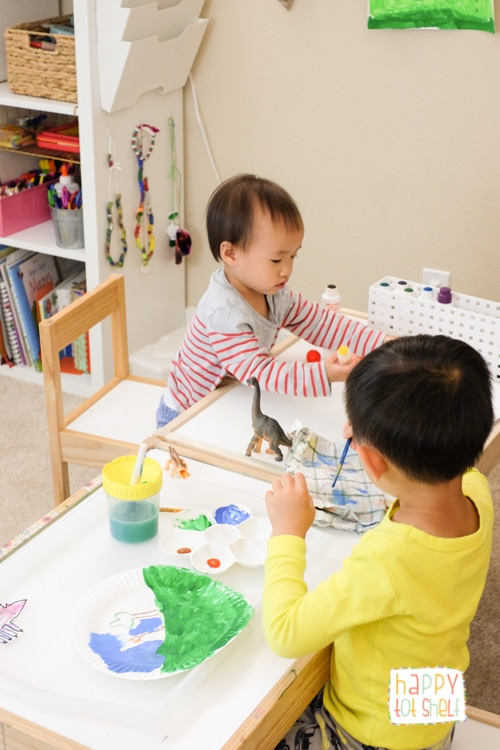 Kids painting together