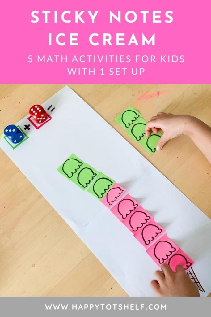 Sticky notes icecream math activities for kids