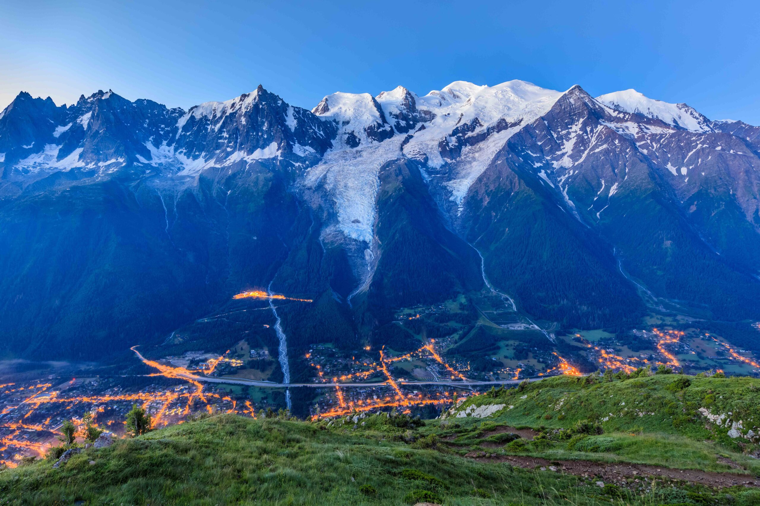 Chamonix valley in the morning. Mont Blanc, France