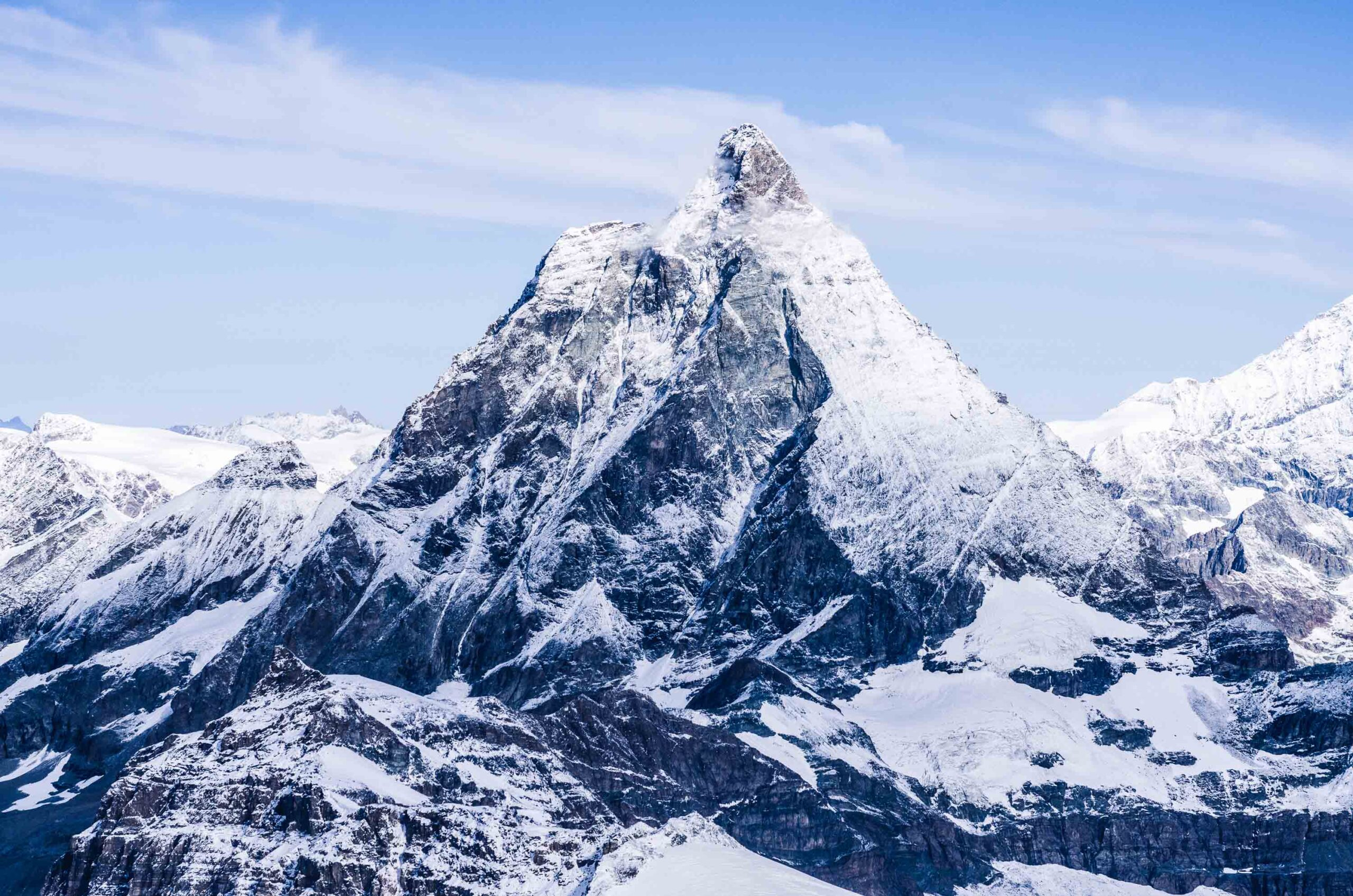 Matterhorn peak in Swiss Alps, snow