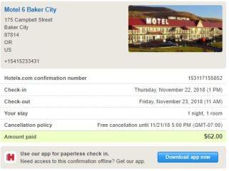 Motel 6 Confirmation