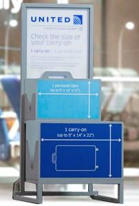 Baggage Sizer United Airlines Basic Economy