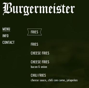 Burgermeister Menu