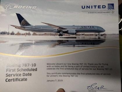 United Inaugural 787-10 Flight Certificate