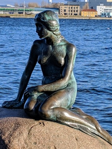 Close up of little mermaid statue