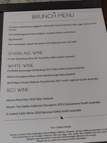 Qantas London Lounge Brunch Menu