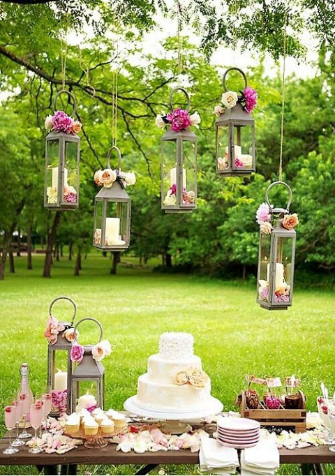 Chic Dessert Table with Lanterns- Rustic Chic Dessert Tables on earlyivy.com