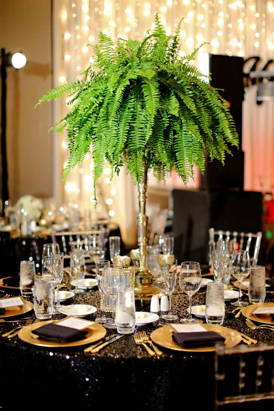 A Lush And Tall Fern Wedding Centerpiece Is Great Not Only For Tropical But For Glam And Art