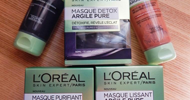 Gels et masques à l'argile pure de L'Oréal skin expert