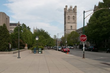 The Regenstein Library of the University of Chicago on the left. 57th St., Chicago, IL 60637 Photo Credit: Ivan Haralanov FotoDetail
