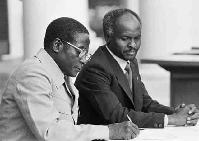 18 April 1980: Robert Mugabe and Zimbabwe President Canaan Banana attend the ceremony for the independence of Zimbabwe in Salisbury, Zimbabwe Photograph: William Campbell/Sygma/Corbis