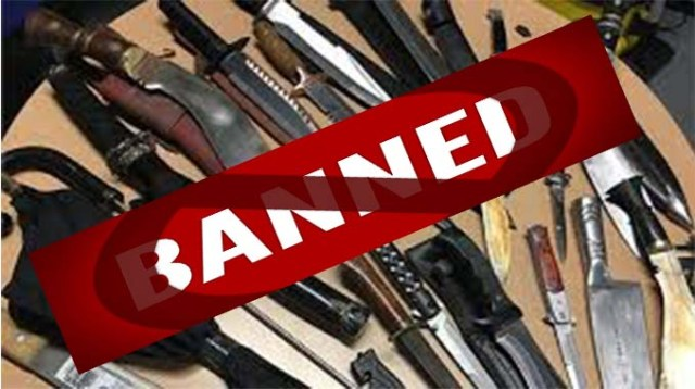 Carrying weapons banned
