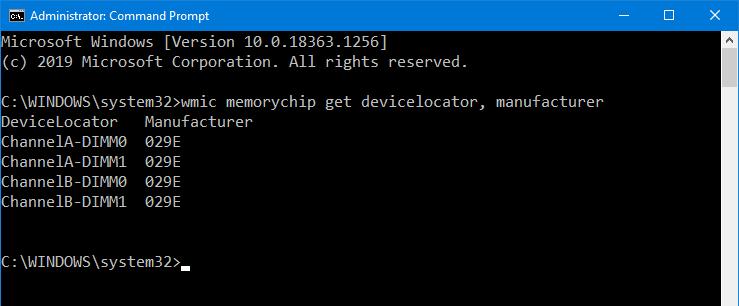 wmic memorychip get devicelocator, manufacturer