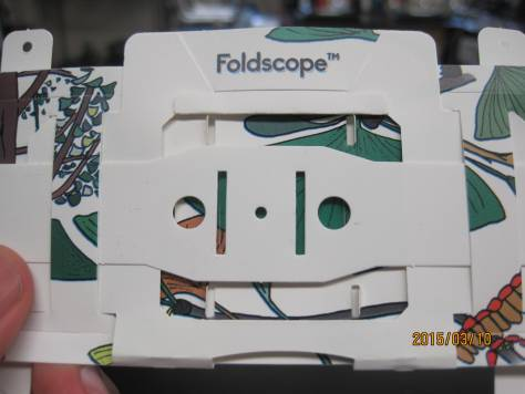 Close-up of Foldscope.