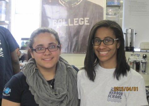 Marine Biology Research scholars Nicolle and Tahirah