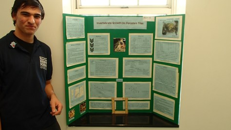 Andrew Sommer )CLass of 2015) presenting on enhancing biodiversity in the Hudson-Raritan Estuary using porcelain tiles.