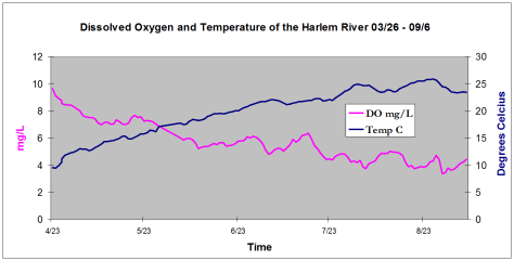 Harlem River Dissolved Oxygen and Temperature by Melissa Jimenez, Class of '09.