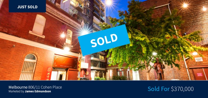 806/11 Cohen Place, Melbourne - Sold for $370,000 - Harcourts Melbourne City