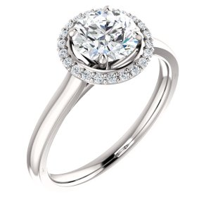 Round Halo-Style Engagement Ring