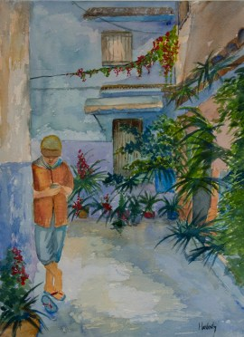 Chefchaouen, by David Hardesty, watercolor, 14 x 10