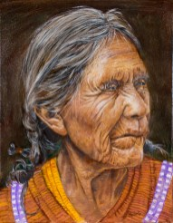 Portrait of old latina, oil on canvas by David Hardesty, 18 x 14