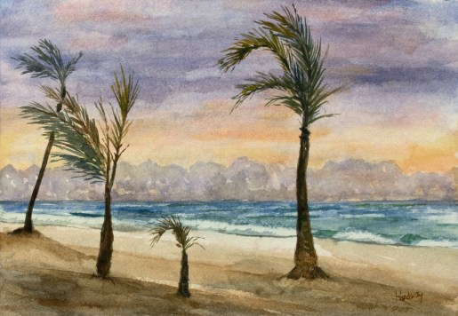 Seascape 4, watercolor, by David Hardesty