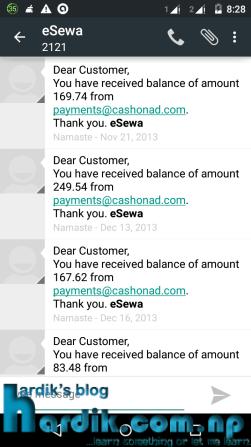 CashOnAd payment screen
