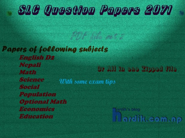 SLC 2071 Question papers